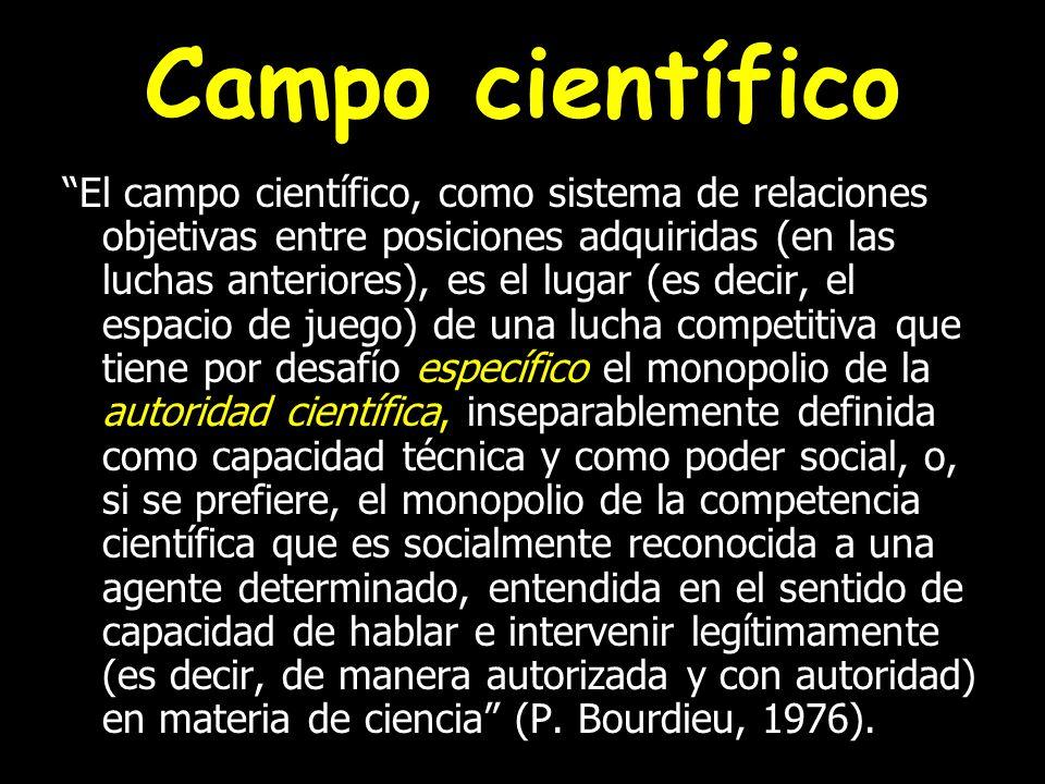 Campo científico El campo científico, como sistema de relaciones objetivas entre posiciones adquiridas (en las luchas anteriores), es el lugar (es dec