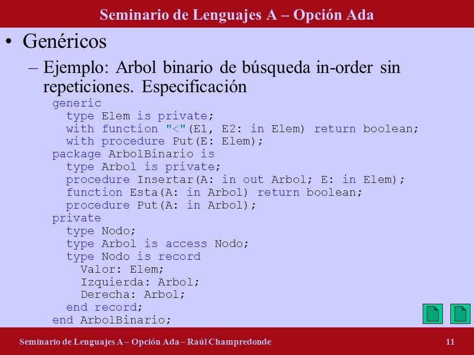 Seminario de Lenguajes A – Opción Ada Seminario de Lenguajes A – Opción Ada – Raúl Champredonde11 Genéricos –Ejemplo: Arbol binario de búsqueda in-order sin repeticiones.