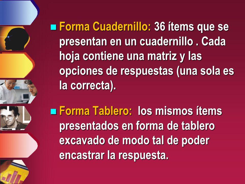 Forma Cuadernillo: 36 ítems que se presentan en un cuadernillo.