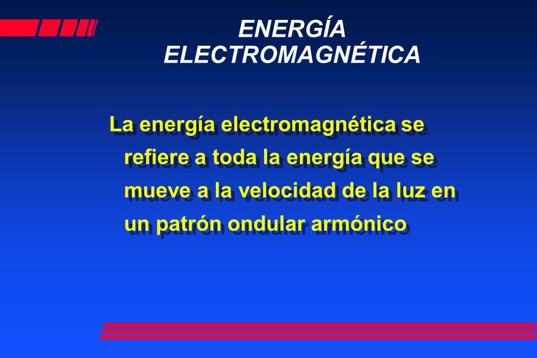 ENERGÍA ELECTROMAGNÉTICA La energía electromagnética se refiere a toda la energía que se mueve a la velocidad de la luz en un patrón ondular armónico
