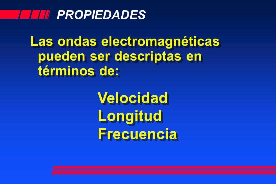 PROPIEDADES Las ondas electromagnéticas pueden ser descriptas en términos de: Las ondas electromagnéticas pueden ser descriptas en términos de: Veloci