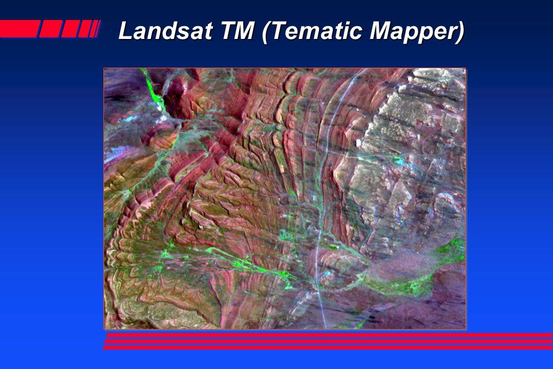 Landsat TM 7 bandas Banda 7 Banda 1 azul Banda 2 verde Banda 3 rojo Banda 4 IR Banda 5 IR Banda 6 IR IR termal BGR 2,3,4 Falso Color BGR 2,3,4 Falso Color