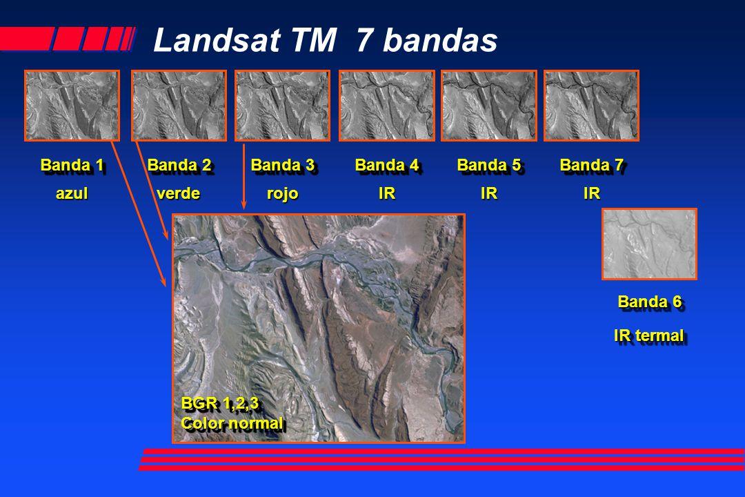 Landsat TM 7 bandas Banda 1 azul Banda 2 verde Banda 3 rojo Banda 4 IR Banda 5 IR Banda 7 IR Banda 6 IR termal BGR 1,2,3 Color normal BGR 1,2,3 Color
