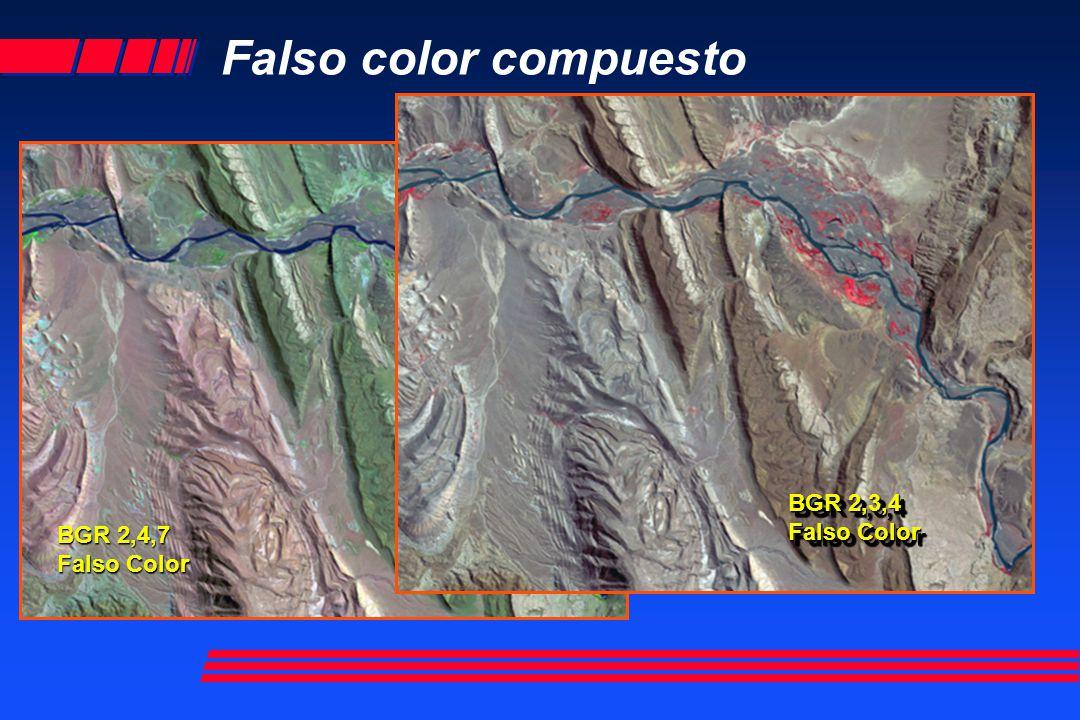 Falso color compuesto BGR 2,4,7 Falso Color BGR 2,3,4 Falso Color BGR 2,3,4 Falso Color