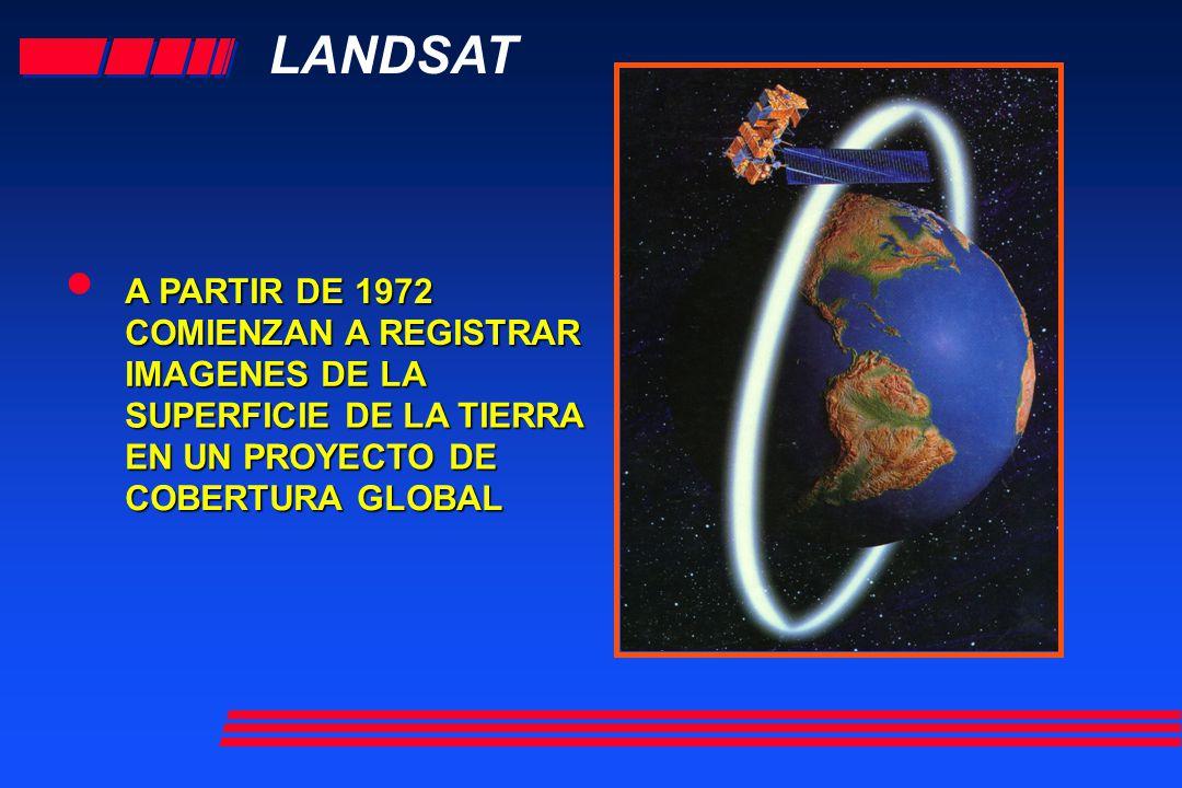 LANDSAT A PARTIR DE 1972 COMIENZAN A REGISTRAR IMAGENES DE LA SUPERFICIE DE LA TIERRA EN UN PROYECTO DE COBERTURA GLOBAL