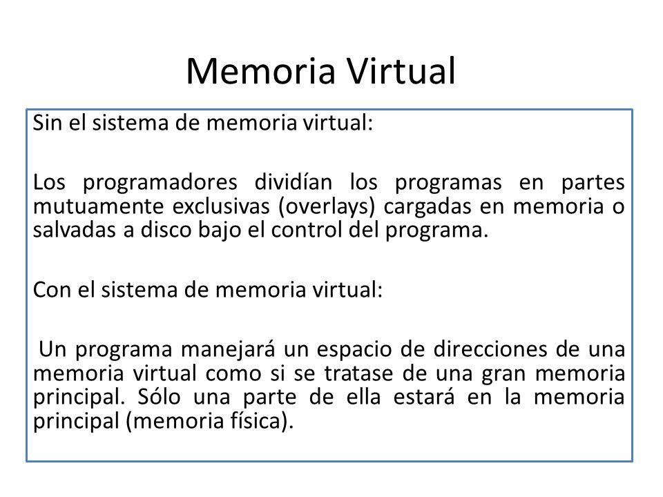 Memoria Virtual Sin el sistema de memoria virtual: Los programadores dividían los programas en partes mutuamente exclusivas (overlays) cargadas en memoria o salvadas a disco bajo el control del programa.