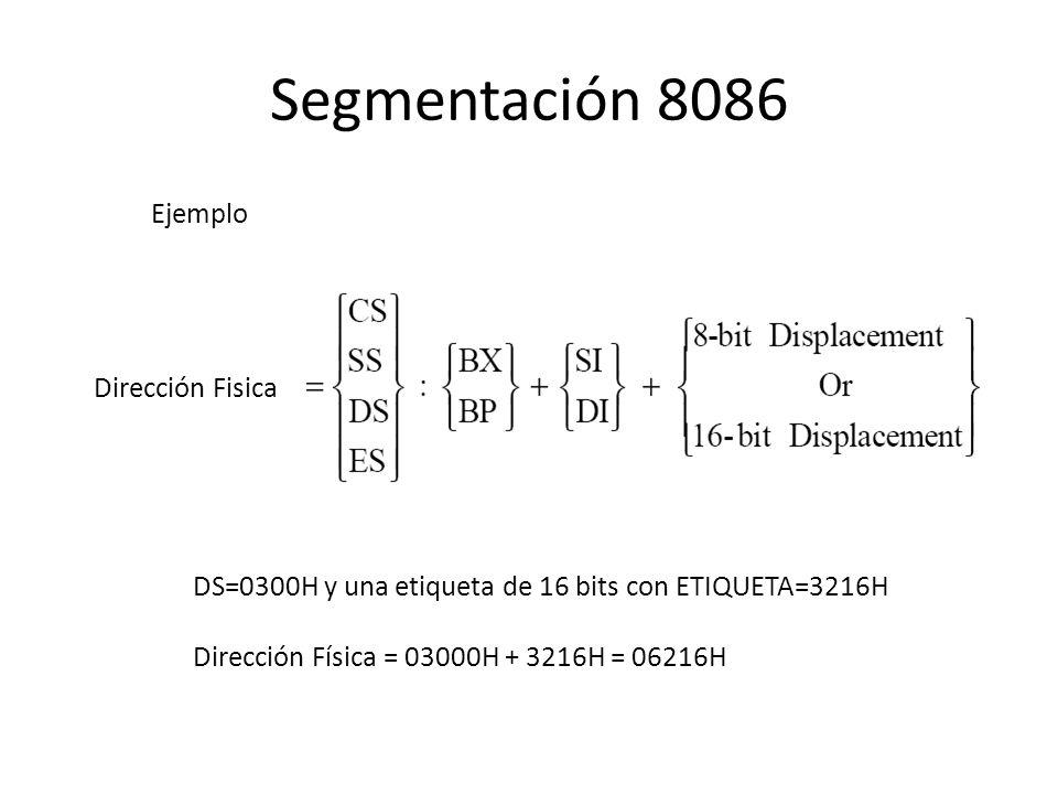 Dirección Fisica DS=0300H y una etiqueta de 16 bits con ETIQUETA=3216H Dirección Física = 03000H + 3216H = 06216H Ejemplo