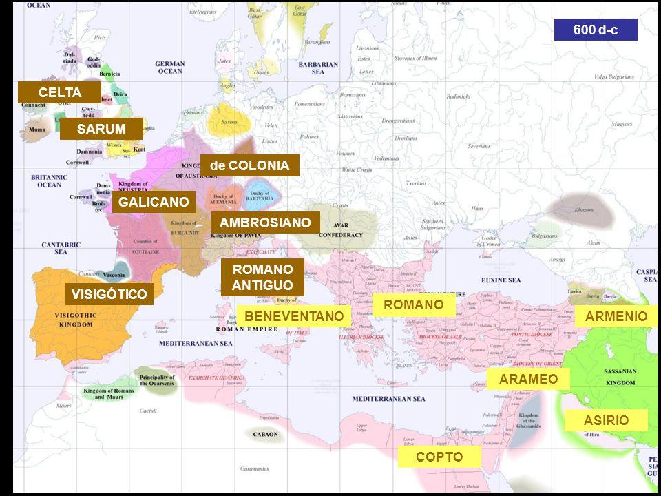 COPTO ARAMEO BIZANTINO VISIGÓTICO GALICANO BENEVENTANO SARUM ROMANO ANTIGUO ARMENIO ASIRIO CELTA de COLONIA AMBROSIANO ROMANO 600 d-c