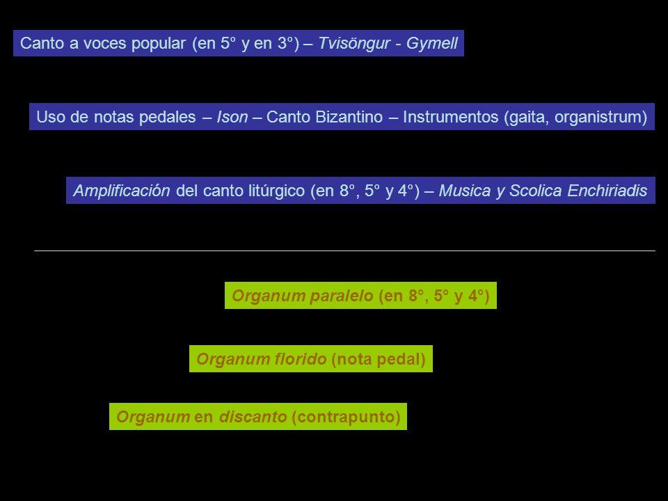 Canto a voces popular (en 5° y en 3°) – Tvisöngur - Gymell Amplificación del canto litúrgico (en 8°, 5° y 4°) – Musica y Scolica Enchiriadis Uso de notas pedales – Ison – Canto Bizantino – Instrumentos (gaita, organistrum) Organum paralelo (en 8°, 5° y 4°) Organum florido (nota pedal) Organum en discanto (contrapunto)