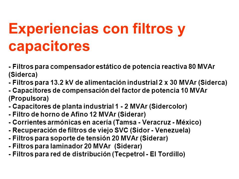 Filtros para compensador estático de potencia reactiva 80 MVAr (Siderca) ARMONICAS HORNO Y TCR FILTROS 2, 3, 4, 5 SOBRECARGA FILTRO DE SEGUNDA INSERCION TRANSFORMADOR ARMONICAS 2 Y 4 INTERARMONICAS ENTRE 3 Y 4
