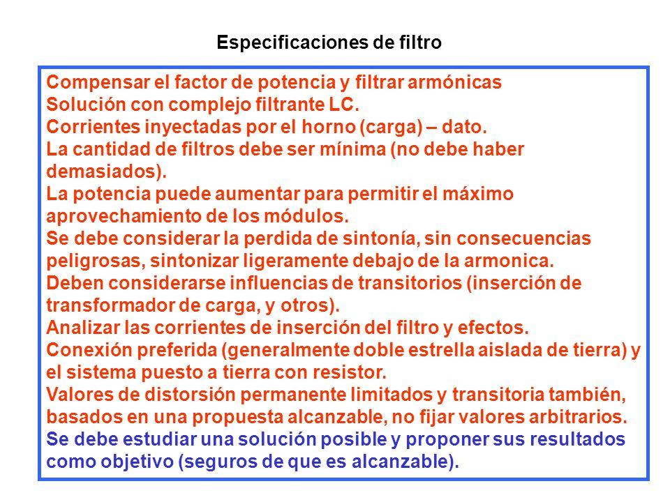 Especificaciones de filtro Compensar el factor de potencia y filtrar armónicas Solución con complejo filtrante LC. Corrientes inyectadas por el horno