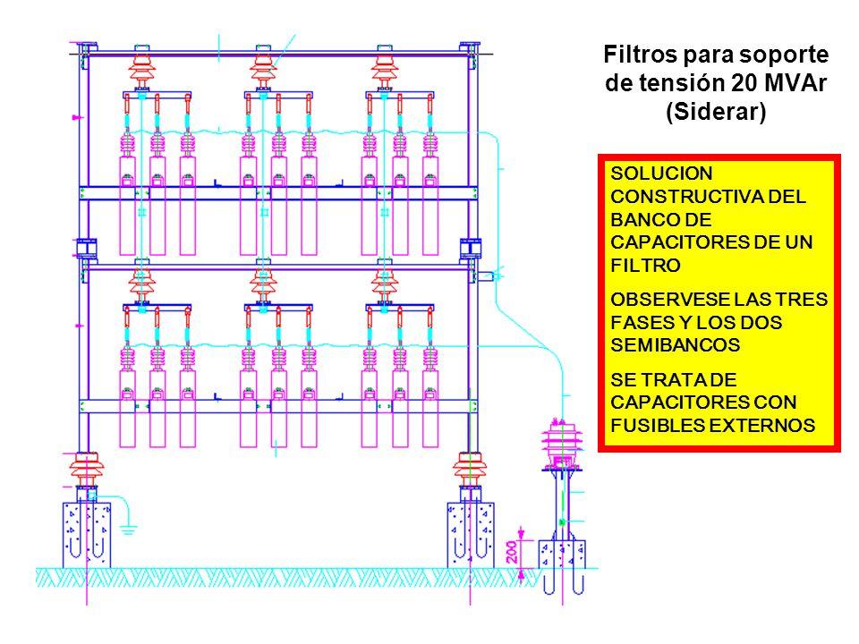 Filtros para soporte de tensión 20 MVAr (Siderar) SOLUCION CONSTRUCTIVA DEL BANCO DE CAPACITORES DE UN FILTRO OBSERVESE LAS TRES FASES Y LOS DOS SEMIB
