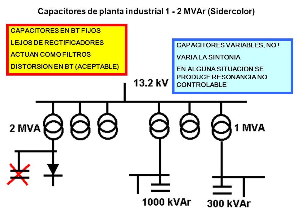 Capacitores de planta industrial 1 - 2 MVAr (Sidercolor) CAPACITORES EN BT FIJOS LEJOS DE RECTIFICADORES ACTUAN COMO FILTROS DISTORSION EN BT (ACEPTAB
