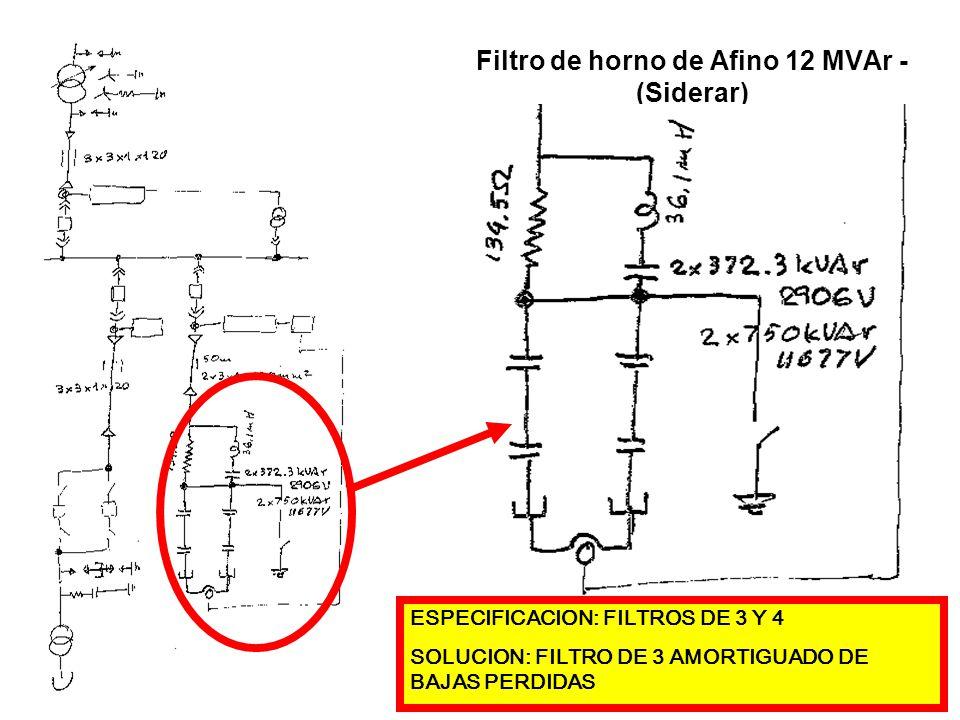 Filtro de horno de Afino 12 MVAr - (Siderar) ESPECIFICACION: FILTROS DE 3 Y 4 SOLUCION: FILTRO DE 3 AMORTIGUADO DE BAJAS PERDIDAS