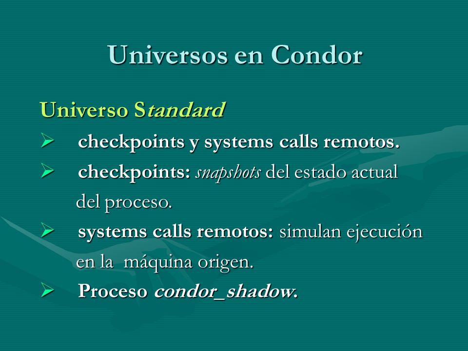 Universos en Condor Universo Standard checkpoints y systems calls remotos. checkpoints y systems calls remotos. checkpoints: snapshots del estado actu