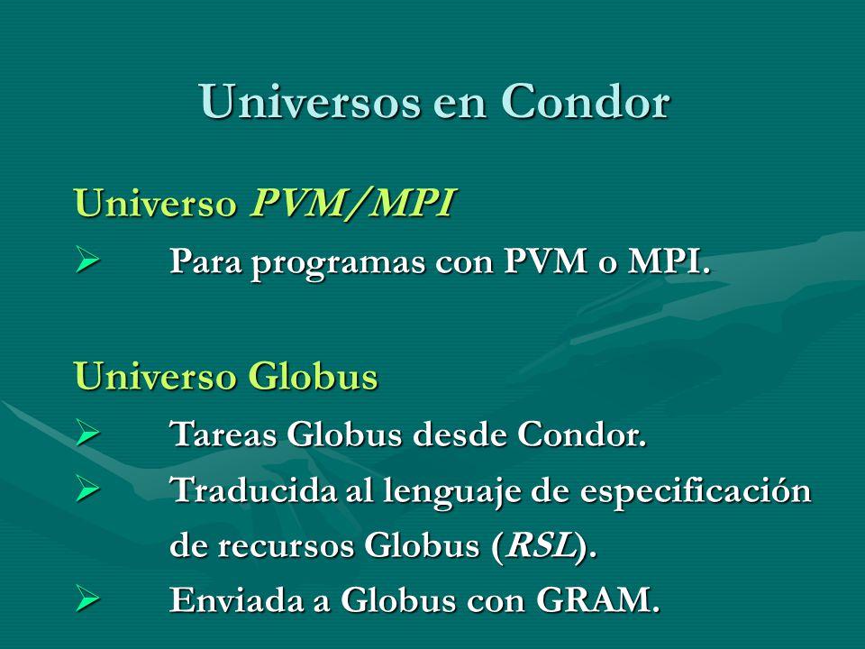 Universos en Condor Universo PVM/MPI Para programas con PVM o MPI. Para programas con PVM o MPI. Universo Globus Tareas Globus desde Condor. Tareas Gl