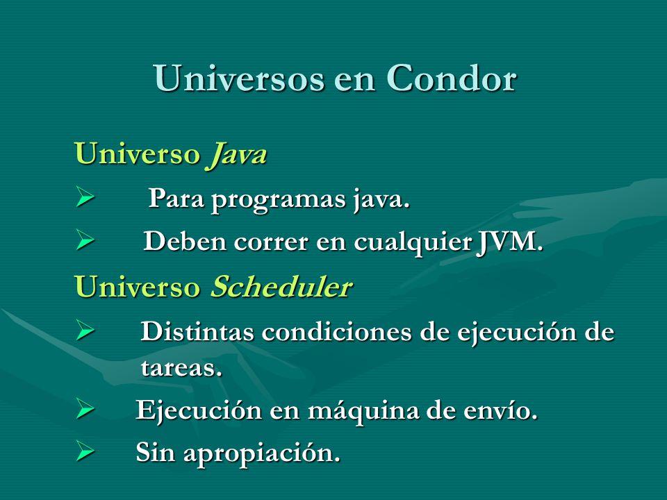 Universos en Condor Universo Java Para programas java. Para programas java. Deben correr en cualquier JVM. Deben correr en cualquier JVM. Universo Sch