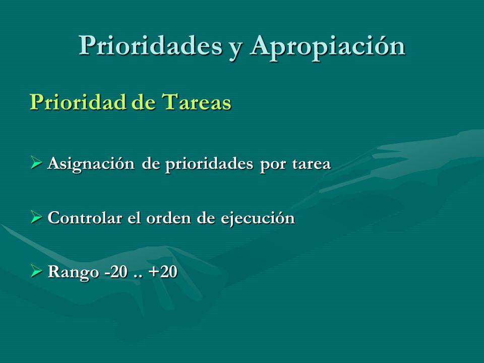 Prioridades y Apropiación Prioridad de Tareas Asignación de prioridades por tarea Asignación de prioridades por tarea Controlar el orden de ejecución