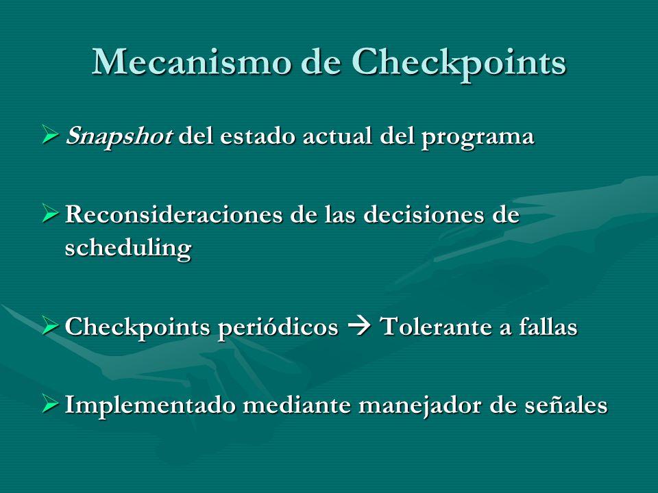 Mecanismo de Checkpoints Snapshot del estado actual del programa Snapshot del estado actual del programa Reconsideraciones de las decisiones de schedu