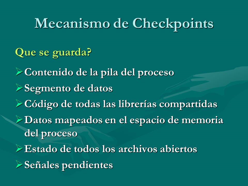 Mecanismo de Checkpoints Que se guarda? Contenido de la pila del proceso Contenido de la pila del proceso Segmento de datos Segmento de datos Código d