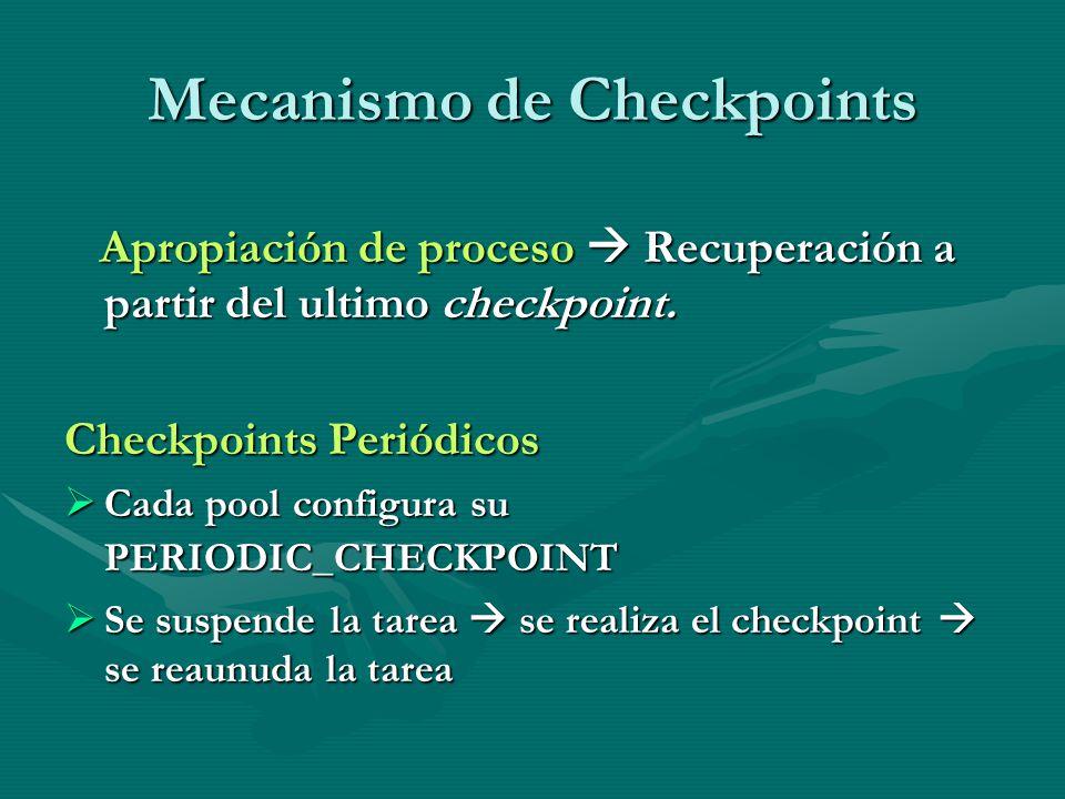 Mecanismo de Checkpoints Apropiación de proceso Recuperación a partir del ultimo checkpoint. Apropiación de proceso Recuperación a partir del ultimo c