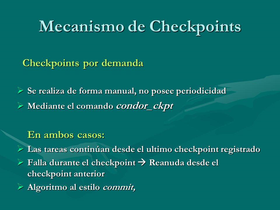 Mecanismo de Checkpoints Checkpoints por demanda Checkpoints por demanda Se realiza de forma manual, no posee periodicidad Se realiza de forma manual,