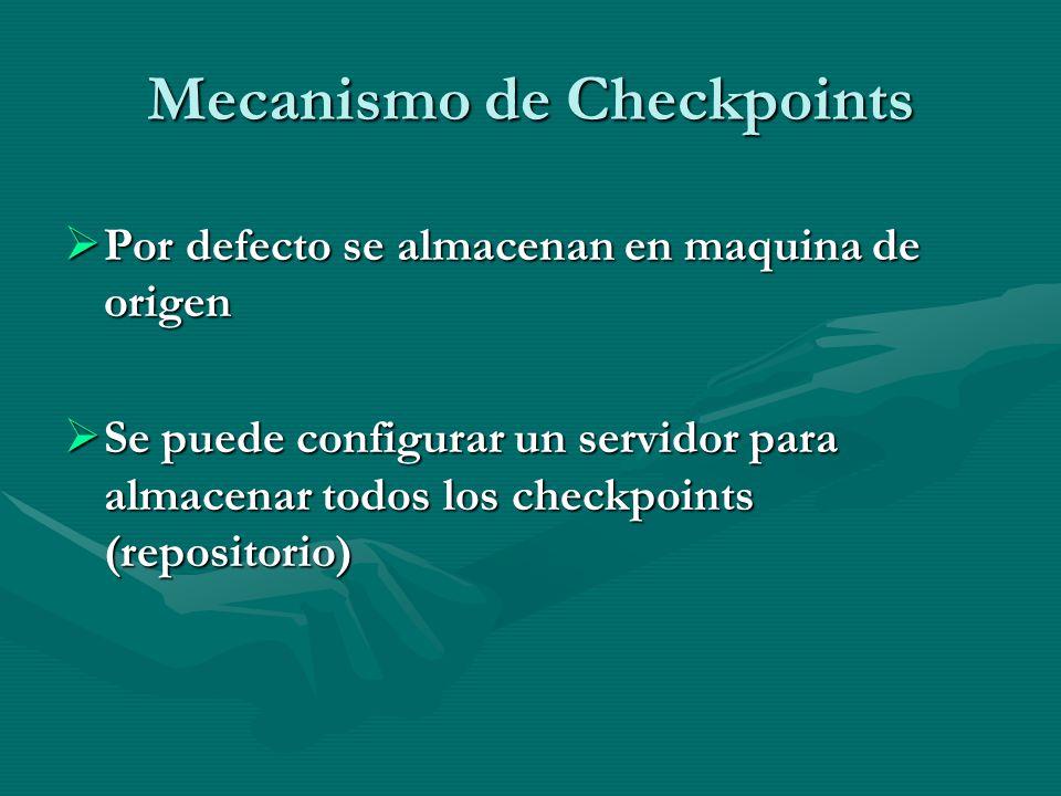 Mecanismo de Checkpoints Por defecto se almacenan en maquina de origen Por defecto se almacenan en maquina de origen Se puede configurar un servidor p