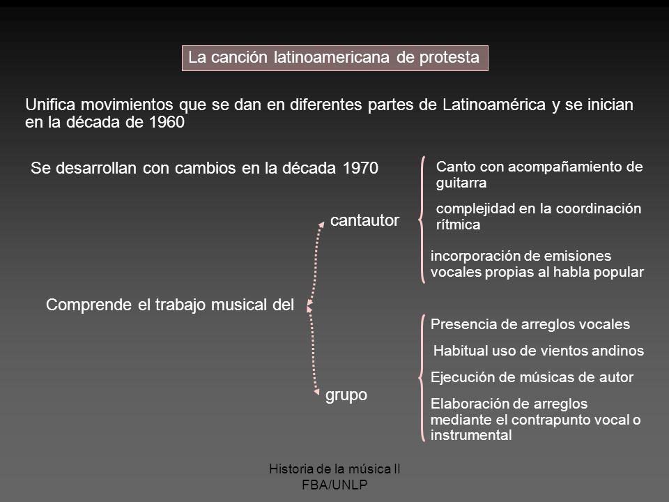 Historia de la música II FBA/UNLP La canción latinoamericana de protesta Unifica movimientos que se dan en diferentes partes de Latinoamérica y se ini