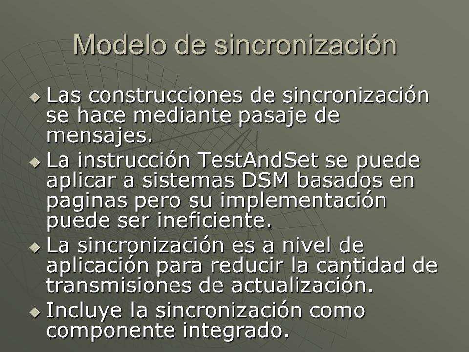 Modelo de sincronización Las construcciones de sincronización se hace mediante pasaje de mensajes. Las construcciones de sincronización se hace median