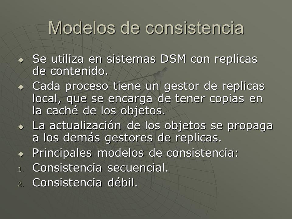 Modelos de consistencia Se utiliza en sistemas DSM con replicas de contenido. Se utiliza en sistemas DSM con replicas de contenido. Cada proceso tiene