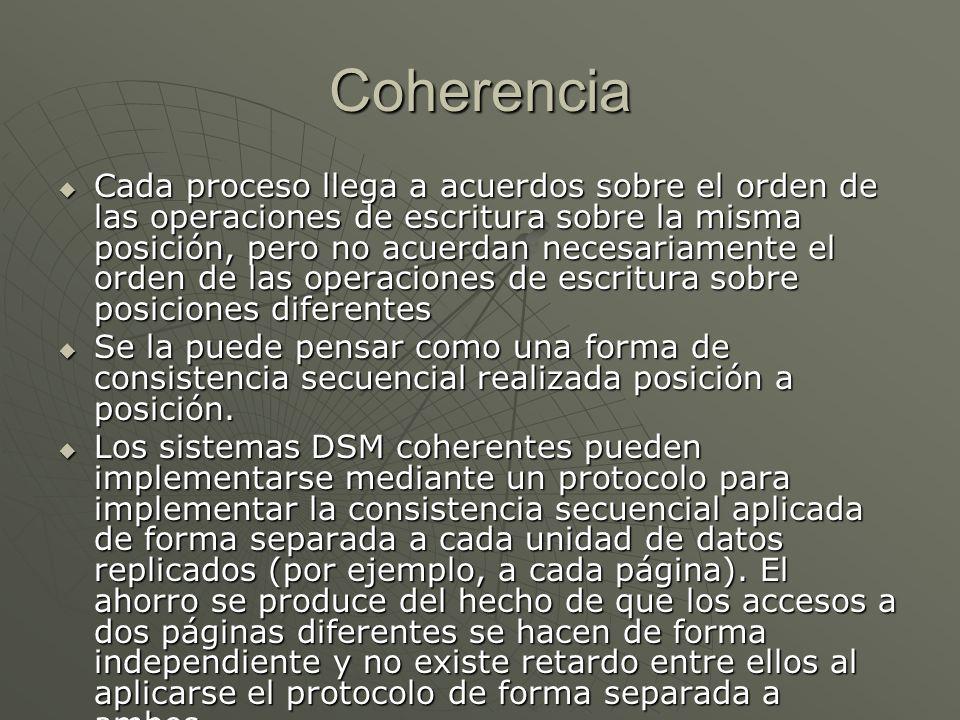 Coherencia Cada proceso llega a acuerdos sobre el orden de las operaciones de escritura sobre la misma posición, pero no acuerdan necesariamente el or