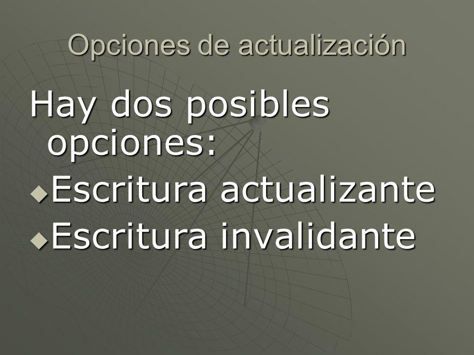 Opciones de actualización Hay dos posibles opciones: Escritura actualizante Escritura actualizante Escritura invalidante Escritura invalidante