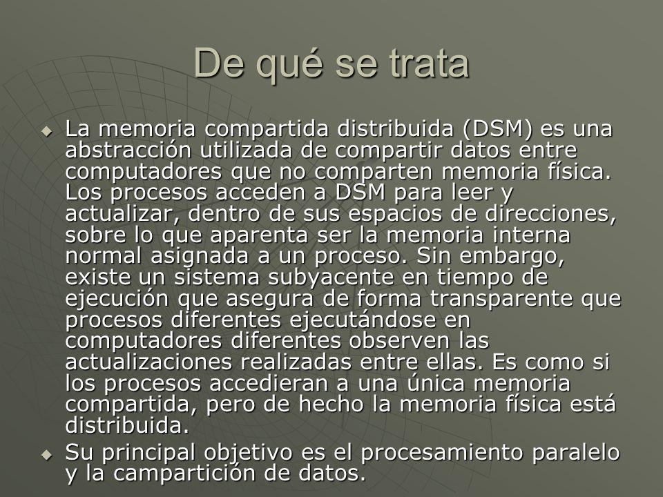 De qué se trata La memoria compartida distribuida (DSM) es una abstracción utilizada de compartir datos entre computadores que no comparten memoria física.