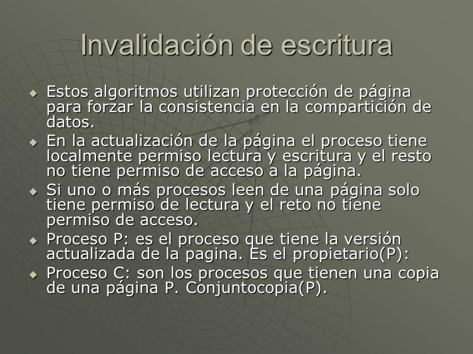 Invalidación de escritura Estos algoritmos utilizan protección de página para forzar la consistencia en la compartición de datos. Estos algoritmos uti