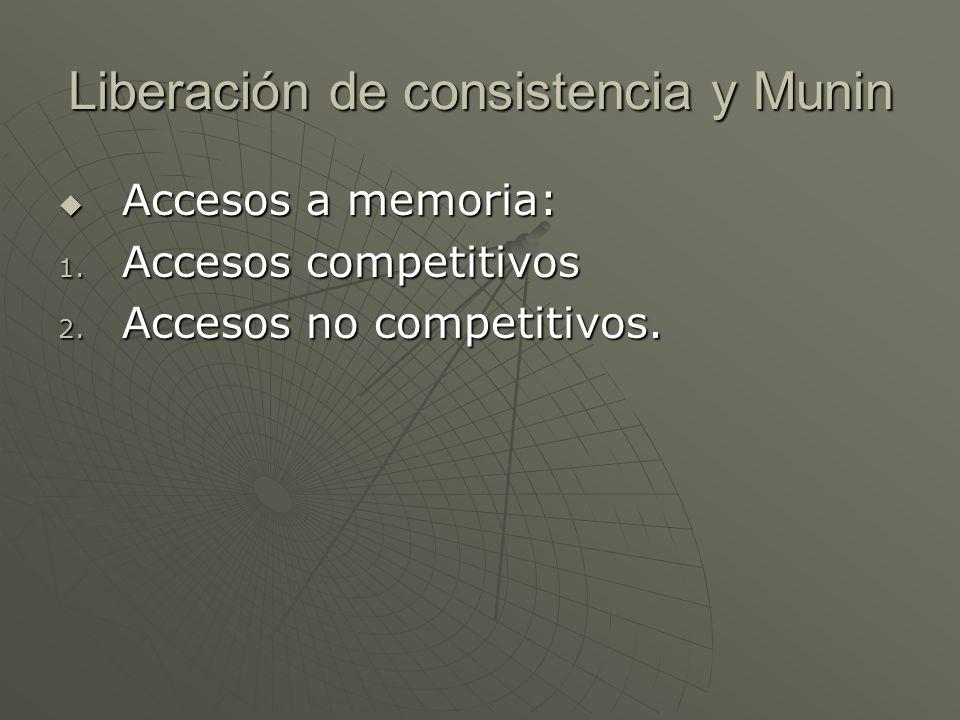 Liberación de consistencia y Munin Accesos a memoria: Accesos a memoria: 1. Accesos competitivos 2. Accesos no competitivos.