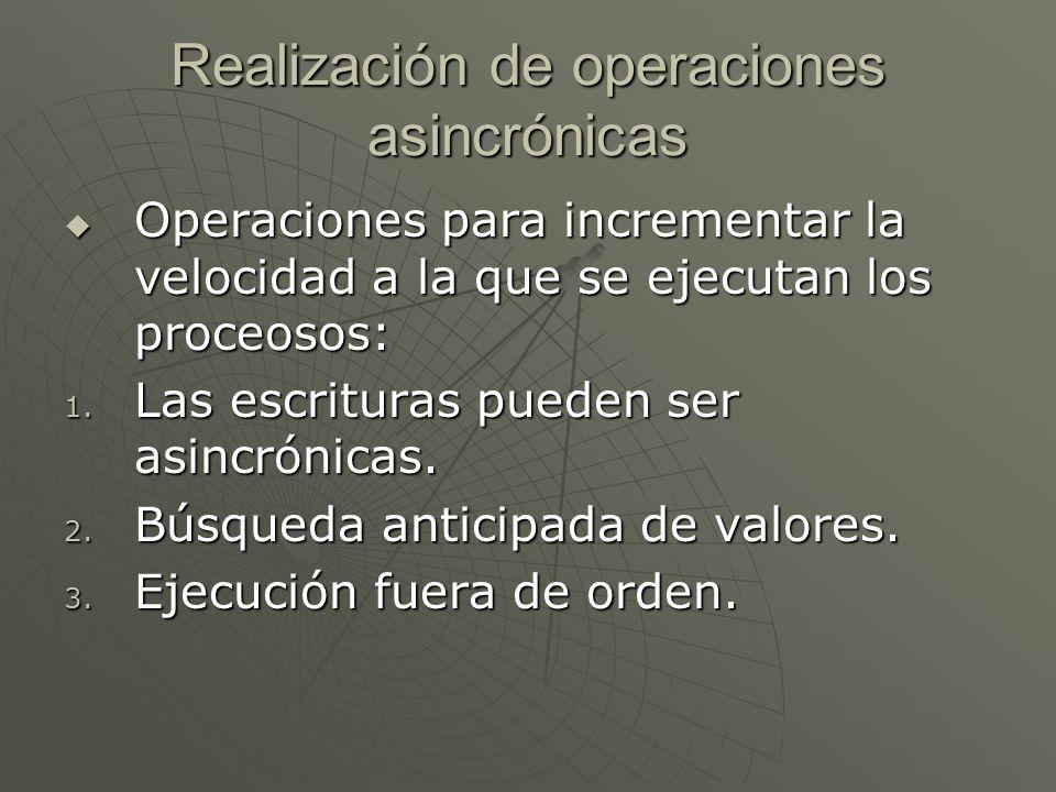 Realización de operaciones asincrónicas Operaciones para incrementar la velocidad a la que se ejecutan los proceosos: Operaciones para incrementar la velocidad a la que se ejecutan los proceosos: 1.