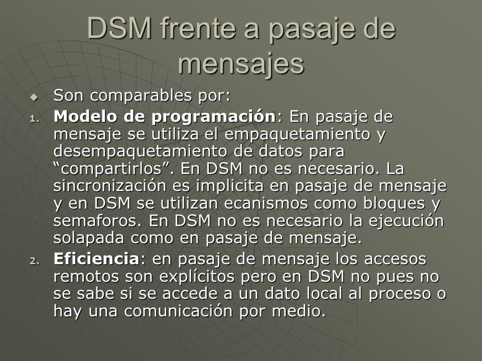 DSM frente a pasaje de mensajes Son comparables por: Son comparables por: 1. Modelo de programación: En pasaje de mensaje se utiliza el empaquetamient