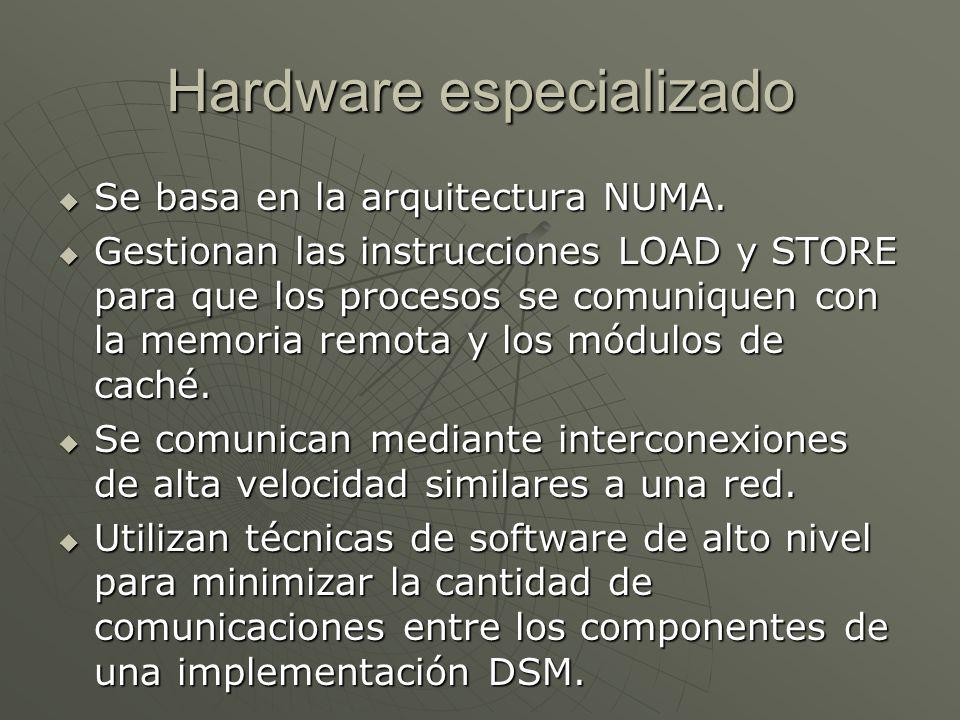 Hardware especializado Se basa en la arquitectura NUMA. Se basa en la arquitectura NUMA. Gestionan las instrucciones LOAD y STORE para que los proceso