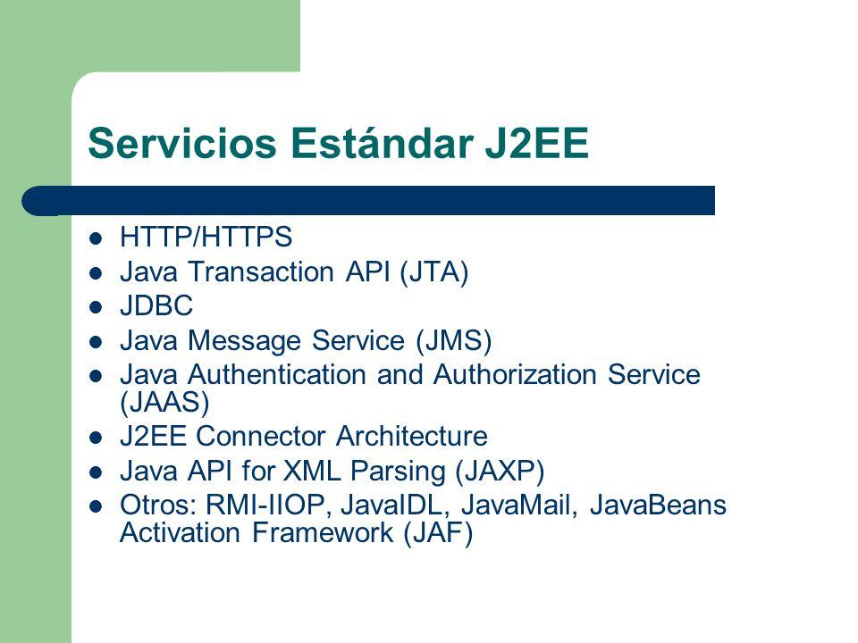 Servicios Estándar J2EE HTTP/HTTPS Java Transaction API (JTA) JDBC Java Message Service (JMS) Java Authentication and Authorization Service (JAAS) J2E