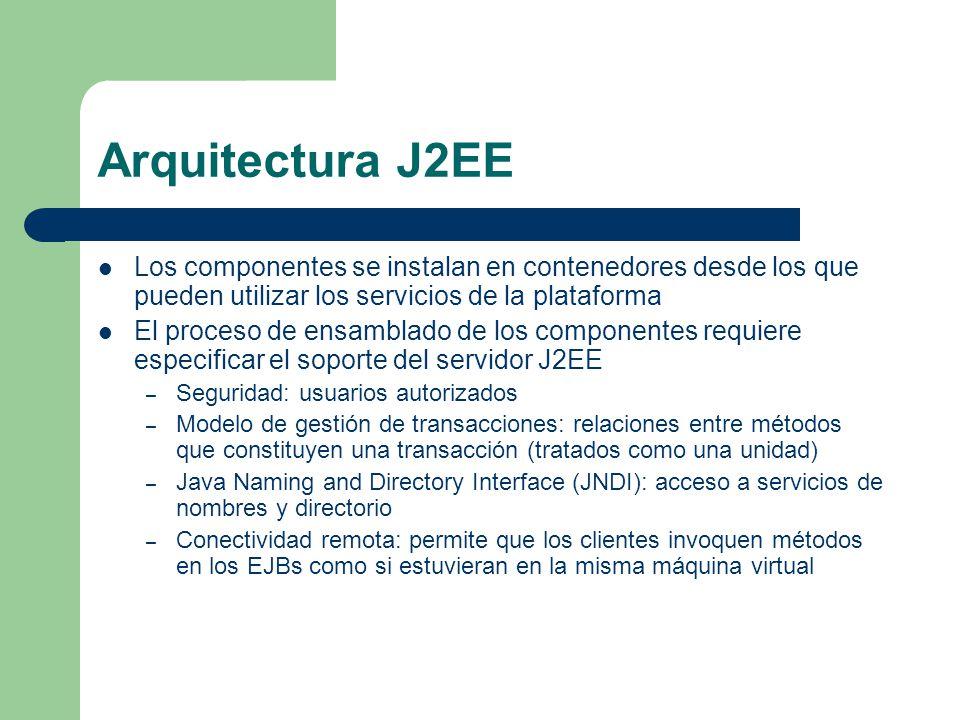 Arquitectura J2EE Los componentes se instalan en contenedores desde los que pueden utilizar los servicios de la plataforma El proceso de ensamblado de