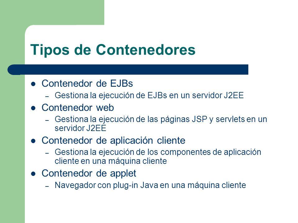 Tipos de Contenedores Contenedor de EJBs – Gestiona la ejecución de EJBs en un servidor J2EE Contenedor web – Gestiona la ejecución de las páginas JSP