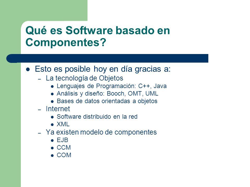 Qué es Software basado en Componentes? Esto es posible hoy en día gracias a: – La tecnología de Objetos Lenguajes de Programación: C++, Java Análisis