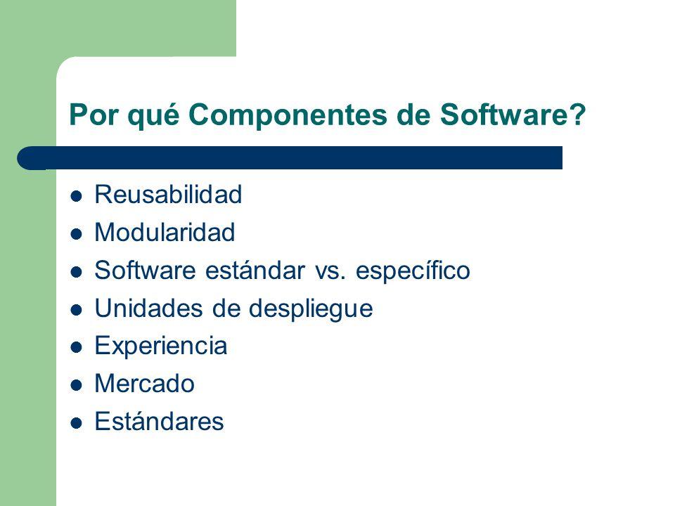 Por qué Componentes de Software? Reusabilidad Modularidad Software estándar vs. específico Unidades de despliegue Experiencia Mercado Estándares