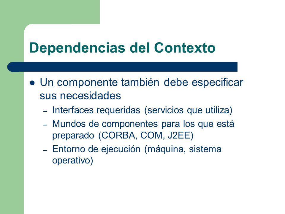 Dependencias del Contexto Un componente también debe especificar sus necesidades – Interfaces requeridas (servicios que utiliza) – Mundos de component