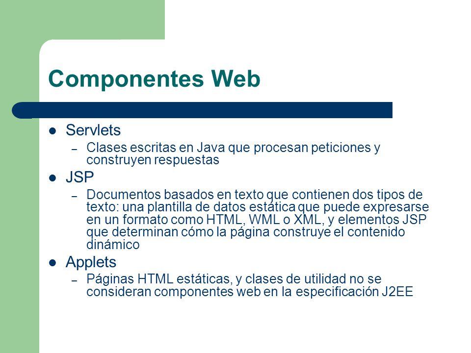 Componentes Web Servlets – Clases escritas en Java que procesan peticiones y construyen respuestas JSP – Documentos basados en texto que contienen dos