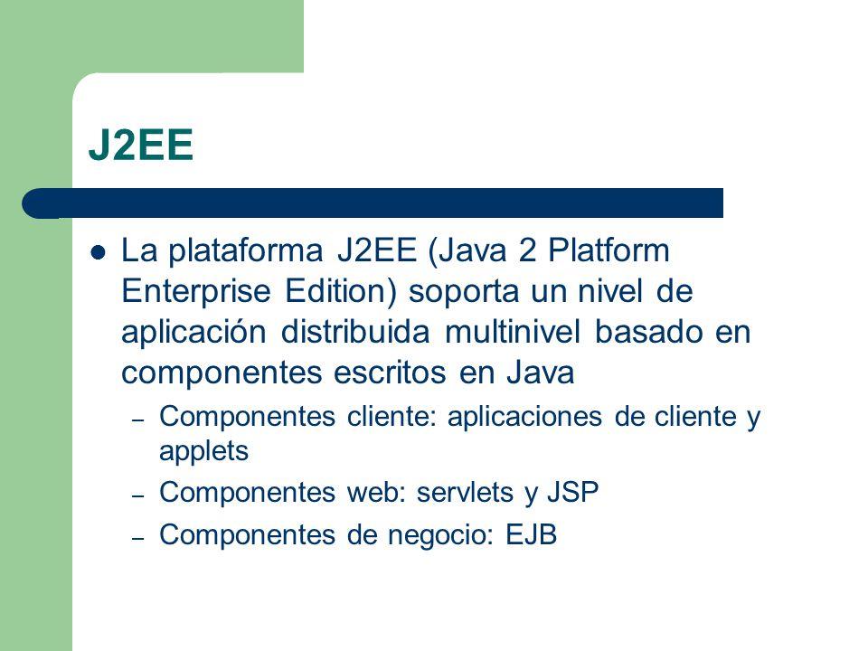 Objetivos de J2EE Definir una arquitectura de componentes estándar para la construcción de aplicaciones distribuidas basadas en Java Separar los aspectos de lógica de negocio de otros soportados por la plataforma: transacciones, seguridad, ejecución multithreading, pooling y otros elementos de bajo nivel Filosofía Java: escribir una vez y ejecutar en cualquier parte Cubrir los aspectos de desarrollo, despliegue y ejecución del ciclo de vida de una aplicación