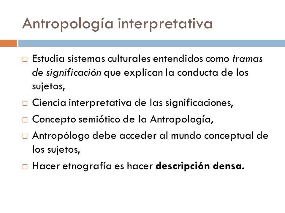 Antropología interpretativa Estudia sistemas culturales entendidos como tramas de significación que explican la conducta de los sujetos, Ciencia inter
