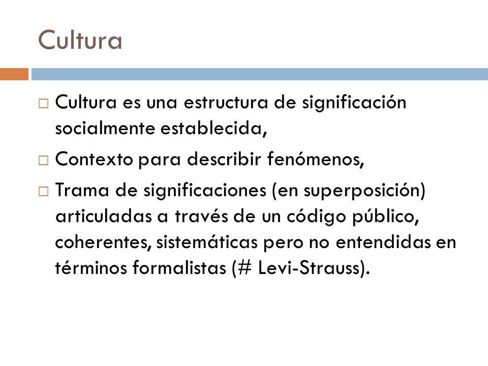 Cultura Cultura es una estructura de significación socialmente establecida, Contexto para describir fenómenos, Trama de significaciones (en superposic