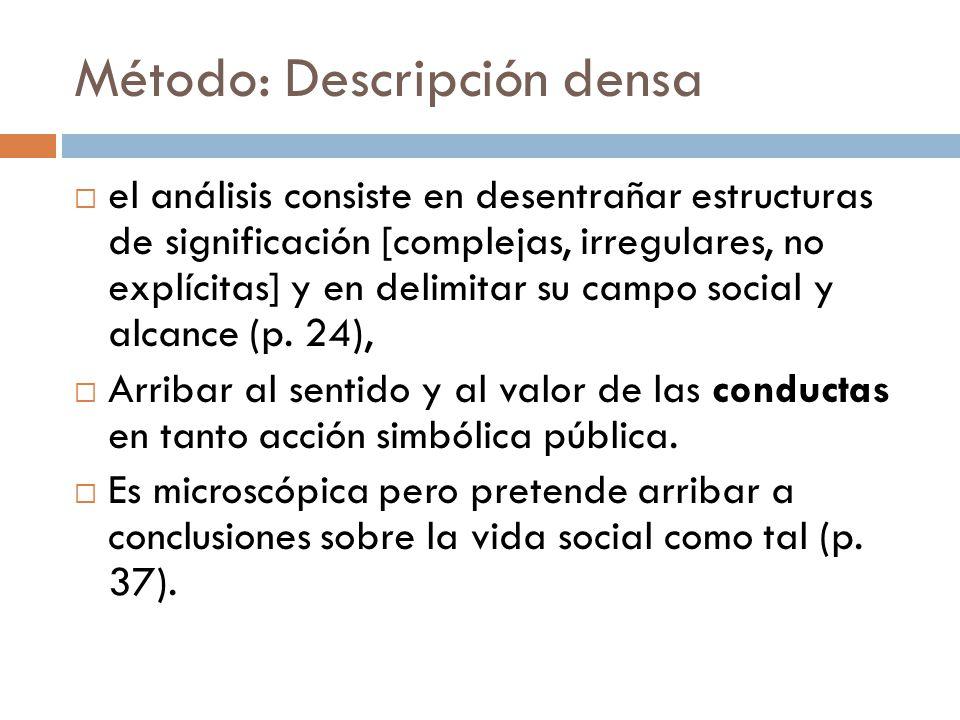Método: Descripción densa el análisis consiste en desentrañar estructuras de significación [complejas, irregulares, no explícitas] y en delimitar su c