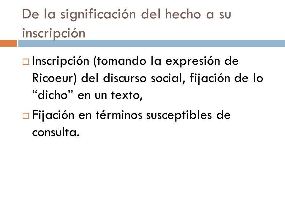 De la significación del hecho a su inscripción Inscripción (tomando la expresión de Ricoeur) del discurso social, fijación de lo dicho en un texto, Fi